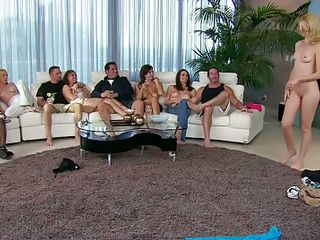 Now this is a hot orgy. Look at these babes, blonde and brunette, spreading their sexy legs so the guys can lick those shaved cunts. Everybody is having a lot of fun and one of the guys gets his small dick sucked by a horny blonde before fucking her hot booty from behind. Fucking someones wife is a lot more fun.
