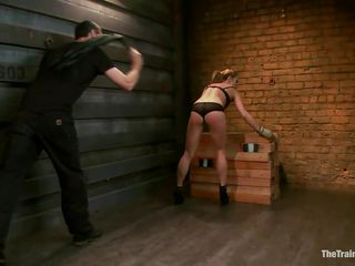 Sexy blonde Bailey, wearing her black lingerie gets ass whipped really hard by her master to make her work harder. He then gives her the opportunity to relax by making the bitch suck with pleasure on a big white dildo. Do you think he will give her a real dick to suck, perhaps his cock?