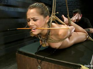 She is completely in the power of her master and he is teaching her to obey him explicitly. So it becomes a habit with her to obey the commands of her master. She i making her ready to present to other people so that she will be willing and completely obedient sex slave to her master and please him