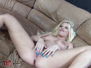 Sex games with Britney Amber are hot and fun. She's a hot blonde with sexy boobs, a pretty smile and a shaved cum asking pussy between those gorgeous thighs. After masturbating on the couch with her legs wide spread she get's down on her knees and gives this guy a hot head, sucking and deep throating his penis with lust. Will she masturbate again or is she going to get fucked hard and receive a big load of sperm on her pretty face.