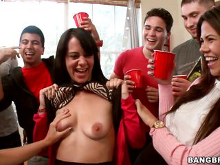 Nice milfs Jada Stevens, Lexi Belle and Bethany Benz and a bunch of other girls are having fun passing a huge pink dildo from mouth to mouth. After having some booze they get naked and slam their sweet asses against colored balloons. Then the sex goddesses enjoy giving blowjobs to nice guys with hard cocks.