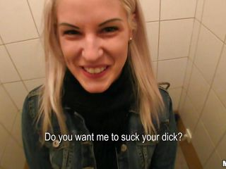 Every chick has her price, some need to be sweet talked and for the other sluts you just need to show the money. Here's one blonde milf named Beata, I had to convince her but after showing the cash she agreed to go in the bathroom with me and went down on her knees to suck my dick. This blondie enjoys having a hard cock between her sexy lips and does a good job sucking me. Should I cum on her pretty face?