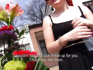 A horny stranger goes after Florence and gives her flowers. The slutty redhead accepts to show off her tits for money. She takes off her shirt and bra and reveals her cute titties. The stranger wants to see some more and she picks up her skirt and shows her ass, too. Do you wanna see where money can get you?