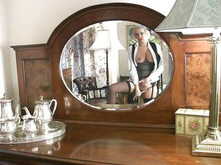 Blonde amber likes to spend some quality time with herself now and then. The gorgeous milf watches herself in front of the mirror and that's all she needs to turn on. Who can blame her for being horny, just look at her smoking hot body! Yeah Amber, play with that pussy for us and keep those legs spread!