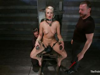 Anikka is in big trouble, positioned in that bondage device that doesn't allows her to move her executor rubs her shaved vagina with a vibrator until they have enough with her. Her body is fit, nice tits, a pretty face with pink lips and a bubble butt that deserves a few slaps on it, and that's exactly what it gets