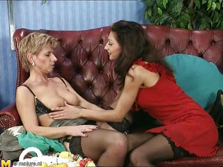 Two sex starved women licks each others cunt, where these mature ladies doesn't require cock to please them. Brunette keeps her lover's pussy's wet and enjoys the juice oozing out from her hairy vagina.