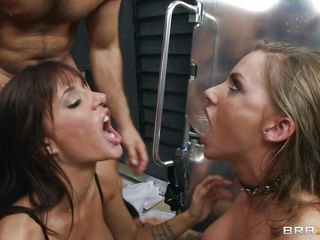 These two babes with big breasts are horny and they are kissing while a guy with big cock is watching them. This guy is very lucky because both sluts are licking and sucking his dick and balls. One of the babes is riding the guy's big cock now while the other one is kissing her boobs.
