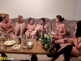 Damn that couch is crowded and there's a lot going on it. The boys and the naughty chicks seem to have a college fuck party and the table is full with alcohol, so are their minds as things start to become hot and wild and everybody is fucking. Look at those sluts, sucking and fucking just the way they should.