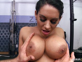 Watch this hot babe with big firm tits as this guy grabs them and makes her lick them. He fingers her cute shaved cunt while rubbing her tits and this slut gets so horny that she spits between her breasts getting them nice and slippery, ready for a big cock. After playing with her tits this guy gets to work and grabs her by the neck slapping her boobs and maybe he will fuck her hard, givving her a huge load on that slutty face.