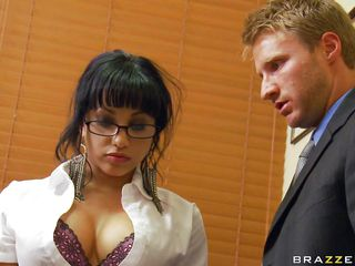 Avella Anderson is a beautiful woman with big tits and a fine ass. Watch her doing her thing at work with her boss behind her. Is she going to get some hot jizz on her pretty face or a big cock inside her ass?
