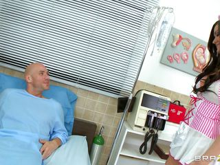 A candy stripe nurse arrive to take care of her patient. The dirty mind patient tells her that as he is going to die so he wants the last fuck of his life, the sexy babe replies that she is ready to help him in completing his last wish by fucking her pussy. Her nice tits are groped and licked.