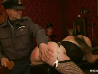 Watch hot milfs brunette Lyla Storm and blonde Dylan Ryan getting ass spanked roughly by Maestro Stefanos his friends. See these two milfs getting punished while being tied up in chains. Krista Chaos comes and gags on Derrick Pierce's penis, letting him bang her throat, as the other two sex slaves watch.