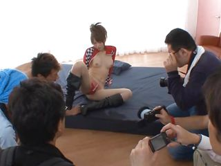 Being in the middle of attention is something normal for the sexy Nippon chick Akiho but judging by her moaning she's not used with getting fucked roughly from behind! After she got photo shoot by all those men the naughty chick receives a hard pounding in her hairy pussy. Is that the attention she needed?