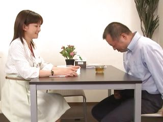 Ai Komori likes her job and to be a pro. Her attitude is a bit annoying so this guy presents her his dick. What is her professional opinion about his hard dick and the way he is rubbing it in front of her? Does she needs to inspect it for a while, maybe have a taste of cum so she could give a clear result?