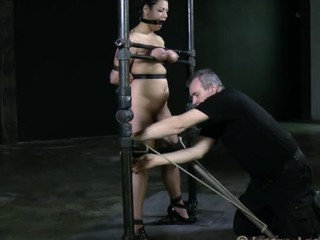 Tough beauty is gagged up and caned zealously