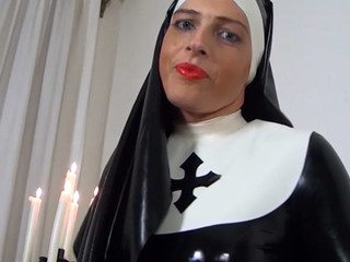 Slutty latex nun rubbing her kinky latex dress