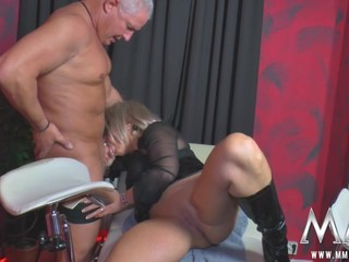 A older swinger gets pinned down, licked and fucked hard by the rest of the gang.
