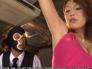 Sensual and hawt looking dark brown spy Runa Sesaki gets caught as that babe tries to steal some data, gets chained in the cellar and tortured with all sorts of sex toys up her one as well as the other fuck holes and then with giving heads to hard cum shooters on the couch