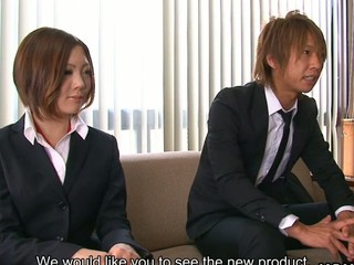 Sexy business woman Iroha Kawashima enjoys in showing how recent vibrating sex toy works on her and getting all in ropes in the office of her recent employee, sucks his and her partners dick at the same time and moans when getting her cum-hole rammed on sofa
