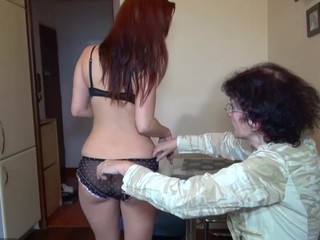 Old granny and sexy juvenile beauty masturbating jointly
