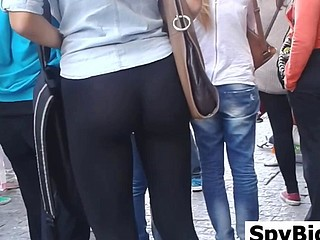 Great Ass In Black Leggings Spied On