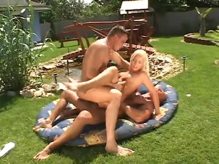 Blonde outdoors with blissful anal sex