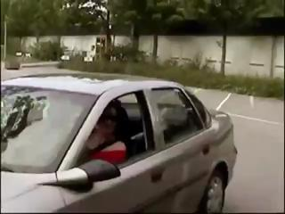 Busty German brunette sucks his cock in the car and gets a mouthful
