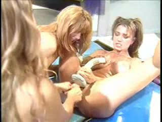 Oiled up lesbo group sex with big penetration