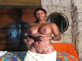 Fit black hotty positions solo and talks to you