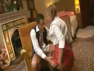 Pigtailed schoolgirl pounded in the ass