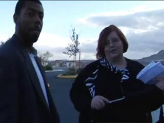 Big fat redhead sucks on his black rod and then gets fucked