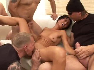 Skinny milf lustful to be in gangbang