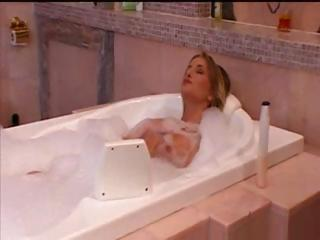 Blond Sarah takes a bath and gets dressed to go out and fuck
